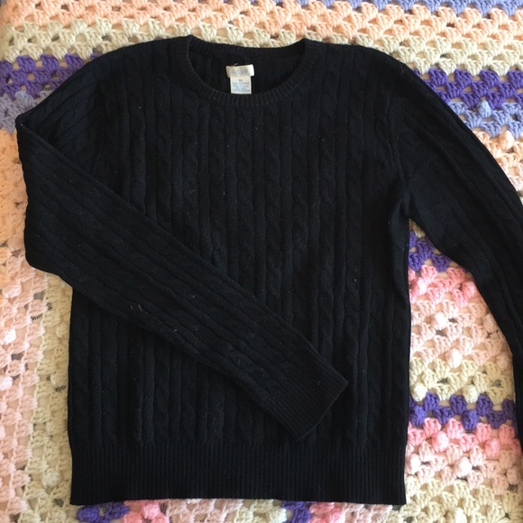 black cashmere cable knit sweater